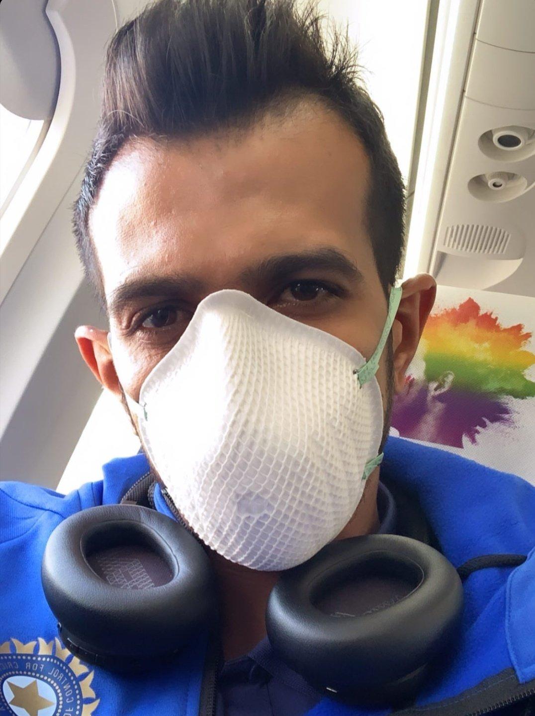 1st ODI: Chahal posts photo wearing mask en route to Dharamshala