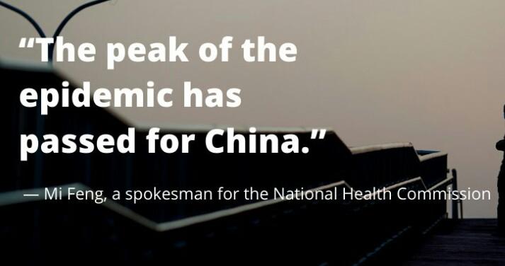 China claims peak of Covid-19 epidemic has passed