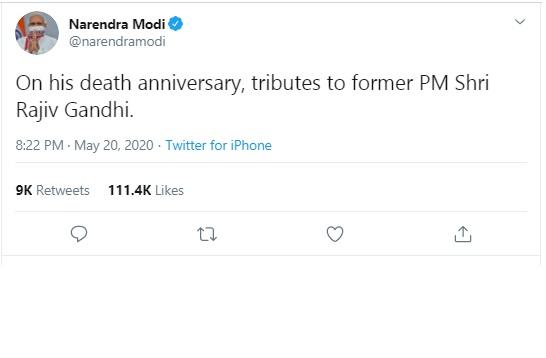 Modi remembers Rajiv Gandhi on his death anniversary
